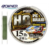 Леска плетеная OWNER HQ PE Braid 4X, Invisible Green, 150м, 0.12mm