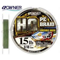 Леска плетеная OWNER HQ PE Braid 4X, Invisible Green, 150м, 0.12mm