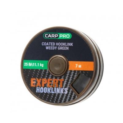 Поводковый материал в оплётке Carp Pro 25lb 7м зелёный