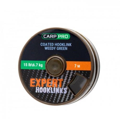 Поводковый материал в оплётке Carp Pro 15lb 7м зелёный