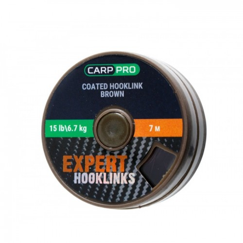 Поводковый материал в оплётке Carp Pro 15lb 7м коричневый