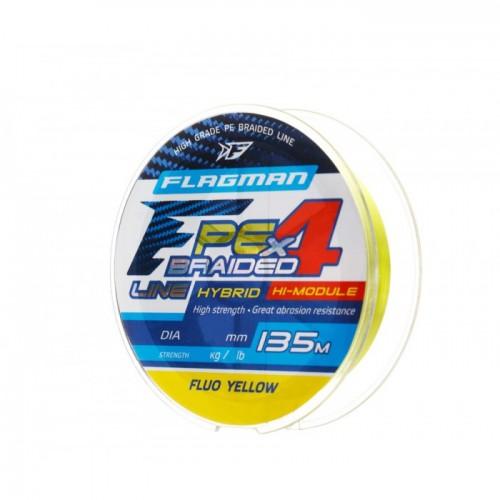 Шнур Flagman PE Hybrid F4 135m FluoYellow 0,16mm. 9,1кг/20lb