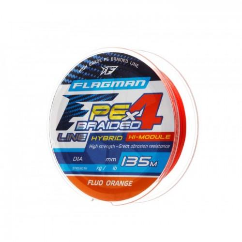 Шнур Flagman PE Hybrid F4 135m FluoOrange 0,12mm. 6,4кг/14lb