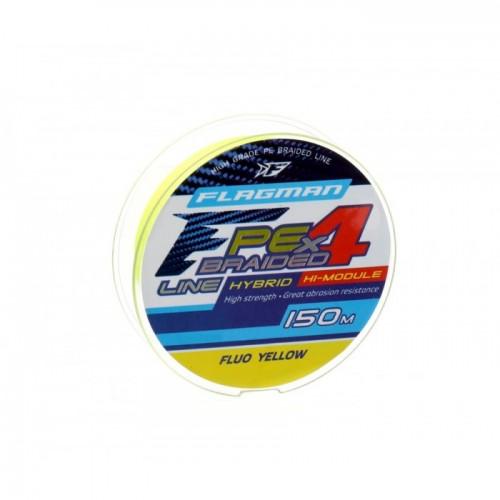 Шнур Flagman PE Hybrid F4 150м Fluo Yellow 0.12мм