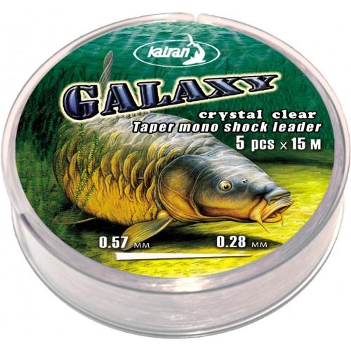 Конусный моно шок-лидер Katran GALAXY 5х15м /0,26-0,57мм прозрачный