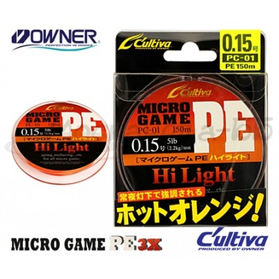 Леска плетеная OWNER Micro Game PE 3X, Orange, 150м, 0.093mm (0,2)