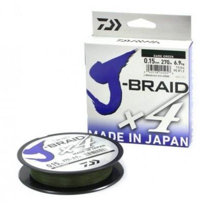 Плетенка DAIWA J-Braid X4 0,07мм/135м (зеленая)