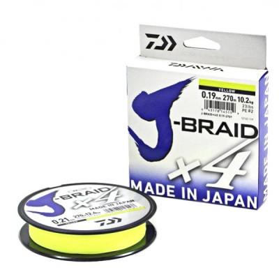 Плетенка DAIWA J-Braid X4 0,07мм/135м (желтая)