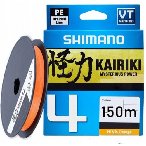 Плетеный шнур Shimano Kairiki 4 PE 0.19мм 150м, оранжевый