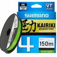 Плетеный шнур Shimano Kairiki 4 PE 0.10мм 150м, зеленый