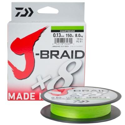 Плетенка DAIWA J-Braid X8 0.06мм/150м (флуоресцентная-желтая)