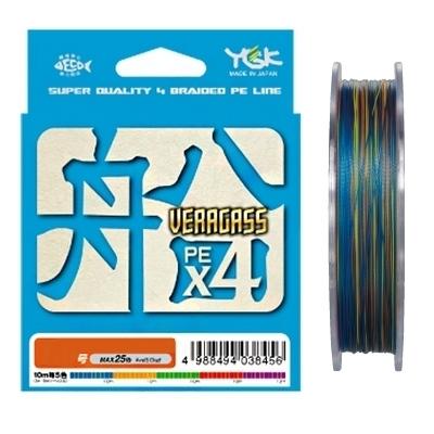 Плетеный шнур YGK Veragass PE х4, #0.6, 150 м, многоцветный