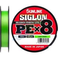 Шнур Sunline Siglon PE х8 150m #0.8/0.153mm 12lb/6.0kg светло-зеленый